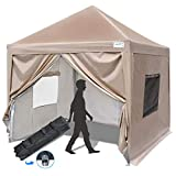 Quictent Privacy 10x10 EZ Pop Up Canopy Party Tent Folding Gazebo with Sidewalls & Mesh Windows 100% Waterproof (Beige)