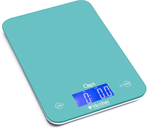 Ozeri Touch II Digital Kitchen Scale with Microban Antimicrobial Product Protection, 18 lb, Teal Blue