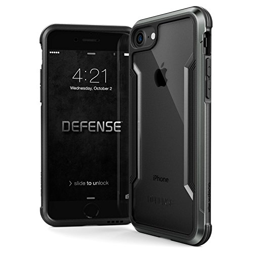 iPhone 8 & iPhone 7 Case, X-Doria Defense Shield Series - Military Grade Drop Tested, Anodized Aluminum, TPU, and Polycarbonate Protective Case for Apple iPhone 8 & 7 (Black)