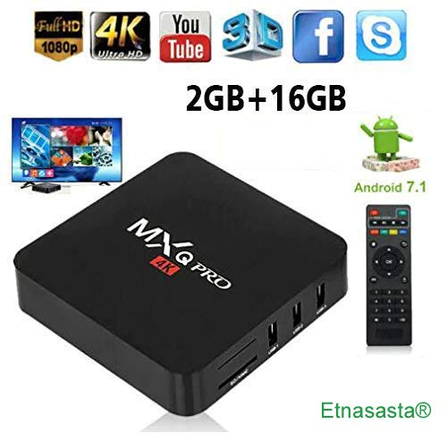 Rampotox MXQ Pro 4K Android TV Box with 2GB RAM/16GB ROM 64Bit Quad Core 185