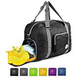 20' Foldable Duffle Bag 40L for Travel Gym Sports Lightweight Luggage Duffel By WANDF, Black