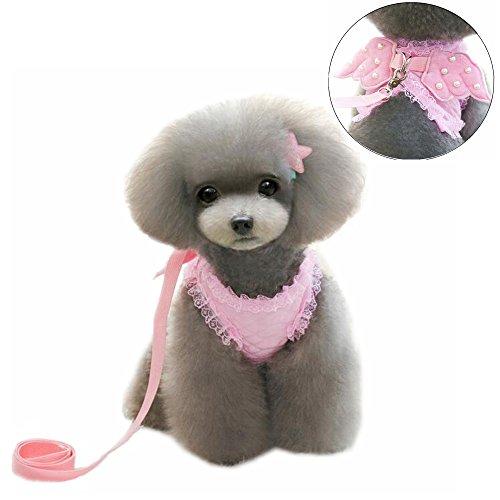 M2cbridge Pink Dog Puppy Harness Leash Collar Cat Vest Strap with Angel Wings 1
