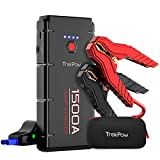 Trekpow G22 Car Jump Starter Pack-1500A Peak 12V Auto Battery Booster Box(Up to 8.0L Gasoline/6.5L Diesel Engine) with Smart Jumper Cable, Portable Power Pack Quick-Charge, LED Light