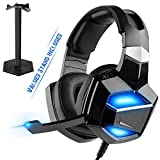 Convenient USB PNP Digital Headset with Stand - 7.1 Surround Sound, No Adapter Required, G-Cord Over-Ear Headphones with Noise Cancelling Microphone for PS4 PC Laptop, Full-Feature USB Decoding.