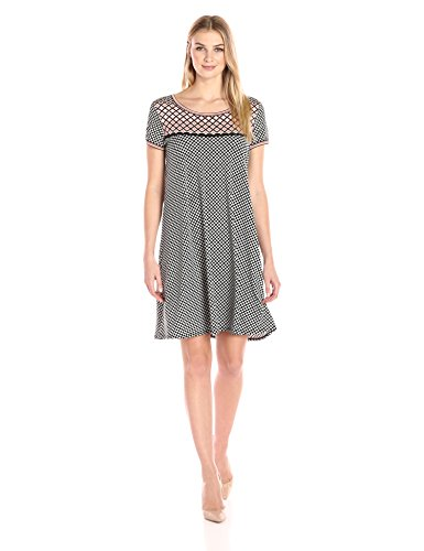 """41TNv4RfjhL A mix of graphic patterns invigorate the understated silhouette of this T-shirt dress in matte jersey. Short sleeves Model is 5' 9"""" and wearing a size Small"""