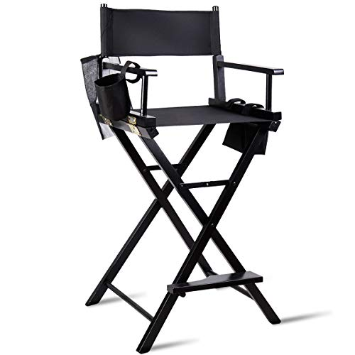 TANGKULA Director's Chair 30' Bar Height Collapsible Portable Wood Frame Foldable Tall Professional Makeup Artist Chair with Side Cup Holder, Side Storage Bag, Footrest