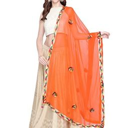 Dupatta Bazaar Woman's Embroidered Chiffon Dupatta.
