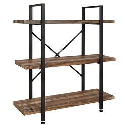 Homegear Vintage Oak Style 3 -Tier Bookcase – Wood Shelves w/Black Iron Frame