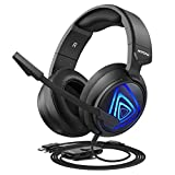 Mpow EG8 Gaming Headset for PC, PS4, Xbox One, Surround Sound Headset with Noise Cancelling Mic, On-Line LED Light/Volume/Mic Control, Memory Earmuffs, Gaming Headphone for PC, PS4 Gamer (Black)