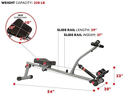 Sunny Health & Fitness SF-RW1205 12 Adjustable Resistance Rowing Machine Rower w/Digital Monitor 7
