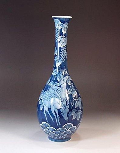 Pottery vase - dyed with Qinghai wave of Arita - Imari | gifts | Gifts | souvenir | gift | potter Fujii NishikiAya