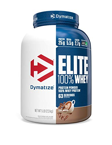 Dymatize Elite 100% Whey Protein Supplement Powder, Pre and Post Workout Protein Powder, 5 lbs, 2.26 kg, Café Mocha
