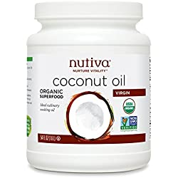 Nutiva Organic, Cold-Pressed, Unrefined, Virgin Coconut Oil from Fresh, non-GMO, Sustainably Farmed Coconuts, 54-ounce
