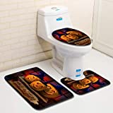 Hot Sale!DEESEE(TM)Halloween Pumpkin lantern Toilet Seat Cover and Rug Bathroom Set Halloween Decor (H)