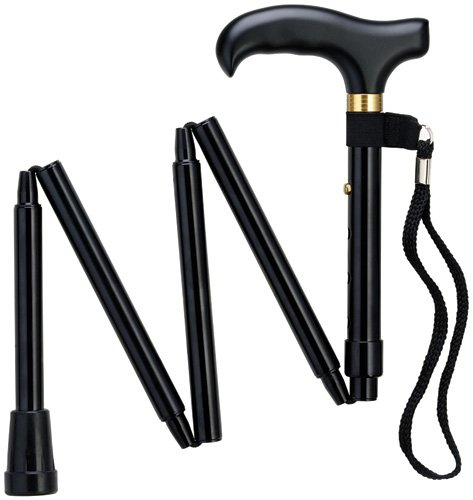 Mini Folding Cane - Travel Cane - Adjustable - Black