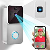 Video Doorbell 1080P HD Doorbell Camera/2 Rechargeable Battery/Indoor Chime/16GB Micro SD Card/Night Vision/Two-Way Audio/166° Wide Angel/PIR Motion Detection for iOS & Android