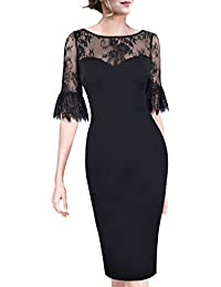 Women Elegant Flare Sleeve Polka Dot Vintage Work Bodycon Dress