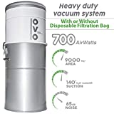 OVO Powerful Central Vacuum System - Heavy Duty Central Vac With Hybrid Filtration - 35L or 9.25Gal - 700 Airwatts Power Unit - OVO-700ST-35H
