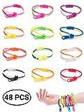 UpBrands 48 Pack Friendship Fidget Zipper Bracelets 7.5 Inches Sensory Toys Bulk Set Neon Colors, Kit for Birthday, Party Favors for Kids, Goodie Bags, Easter Egg Basket Stuffers, Pinata Filler,