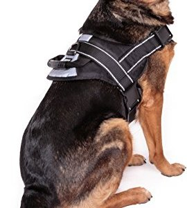 Friends Forever No Pull Dog Harness Large Breed – Harnesses for Large Dogs, Black Dog Vest with Handle & 3M Reflective Material for Extra Control and Safety