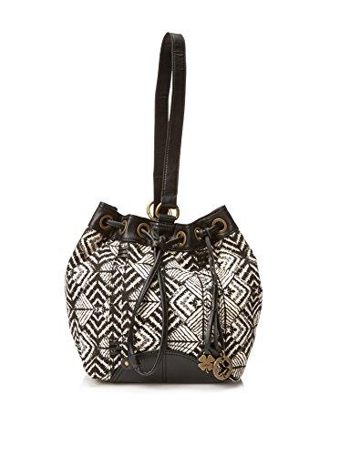 d7e2813c08 Lucky Brand Womens Bali Hai Sling Fabric Purse (Black White Geometric  Pattern)