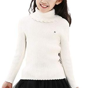 BCVHGD Turtleneck Sweater for Girls Candy Color Pullover Jumpers Cotton Knitted Children Tops Winter Warm Kids