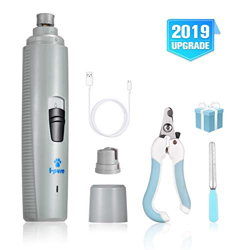 I-pure items Dog Nail Grinder - 2 Speed Pet Nail Grinder Grooming Kit - Electric Paw Trimmer Clipper File Small Medium Large Dogs Cats Portable & Rechargeable Gentle Painless Paws Grooming (Grey)