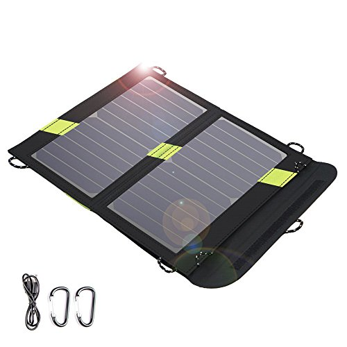 Solar Charger, X-DRAGON 14W SunPower Solar Panel with SolarIQ Technology& Dual USB Port for iPhone X 8, ipad mini, Cell Phone, Android, Outdoor, Camping