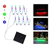 DANCRA LED Strip Lights Battery Powered, DC6V Dimmable R/G/B LED Light Strip, Flexible Color Changing Light Strip with Mini Controller for Skateboard, Scooter, Party and Indoor Outdoor Decoration (RGB