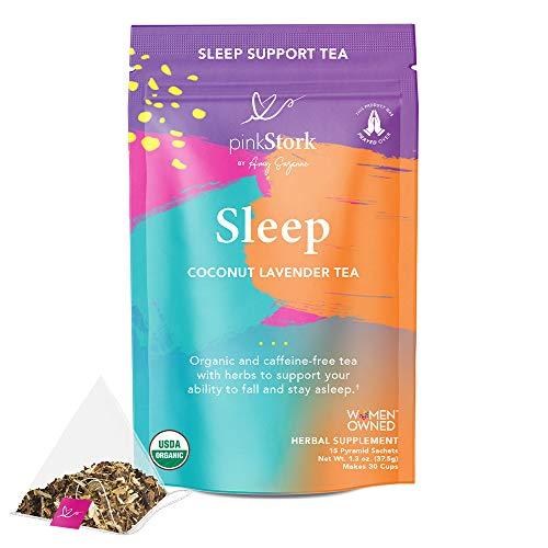 Pink Stork Sleep Tea: Coconut Lavender, Oat Straw Sleep Tea, 100% Organic, Supports Falling and Staying Asleep, Women…