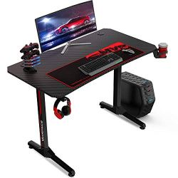 VANSPACE 44 Inch Ergonomic Gaming Desk with Gaming Mouse Pad, T-Shaped Office Desk PC Computer Desk, Gaming Table Gamer…