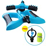 Lawn Sprinkler, Automatic 360 Rotating Adjustable Garden Water Sprinklers Lawn Irrigation System Covering Large Area with Leak Free Design Durable 14 Arm Sprayer