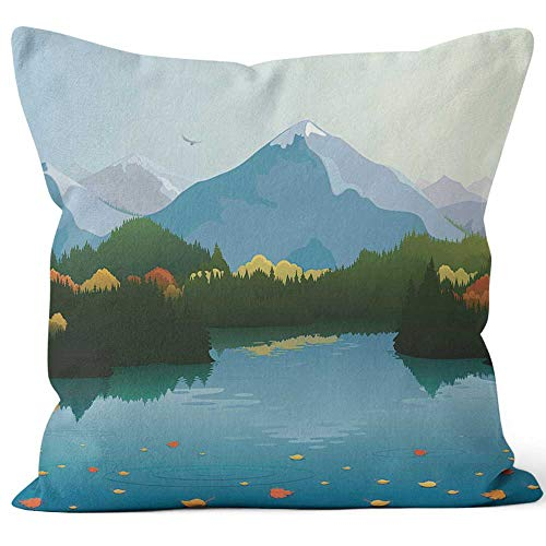Nine City Autumn Mountain Landscape Sack Burlap Pillow,HD Printing Square Pillow case