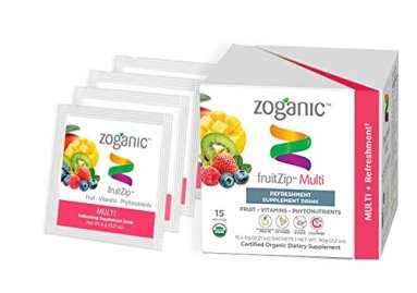 Zoganic Multi FruitZip - 100% Natural Powder Drink Mix. A Low Calorie & Great-tasting Beverage with a Source of Whole Fruits, Vitamins and Phytonutrients. No Preservatives or Added Sugar! (15 pk)