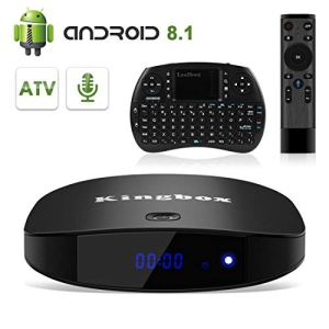 Kingbox Android 8.1 TV Box, K2 Pro Android TV System 2GB RAM + 16GB ROM 2.4G Wi-Fi H.265 Decoding 4K Full HD Android Smart TV Box with Vocie Remote