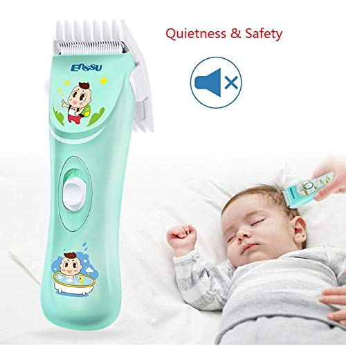 ENSSU Quiet&Safety Baby Hair Clippers, Silent Electric kids Hair Trimmers,Chargeable Waterproof Professional Cordless Hair Clipper for Baby Children Kids infant, 0mm-12mm clipper blade