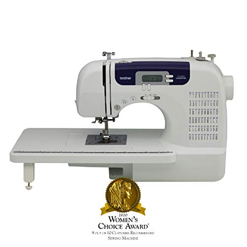 Brother Computerized Sewing and Quilting Machine, CS6000i, 60 Built-in Stitches, 7 Styles of 1-Step Size Buttonholes, Wide Table, Hard Cover, LCD Display and Auto Needle Threader, Beige/Blue