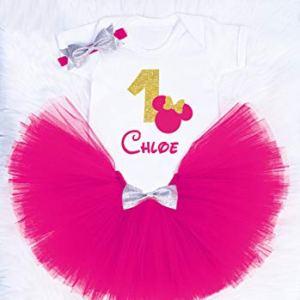 Personalised first birthday tutu outfit, 1st birthday costume, First birthday outfir Choose colour 41U9XJud2lL