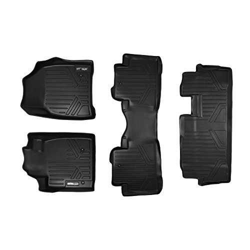 SMARTLINER Floor Mats 3 Row Liner Set Black for 2009-2015 Honda Pilot