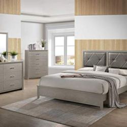 Best Quality Furniture 4PC Queen Bed + Dresser + Mirror + Nightstand, Champagne Metallic