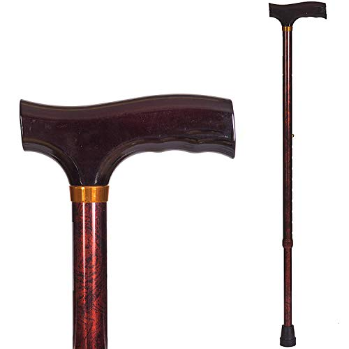 Briggs Healthcare Lightweight Aluminum Adjustable Walking Cane with Derby-Top Handle, Woodgrain