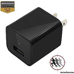 Hidden Cameras Charger Adapter,EOVAS 1080P HD USB Wall Charger Hidden Camera/Nanny Spy Camera Adapter with 32G Internal Memory - Update Version