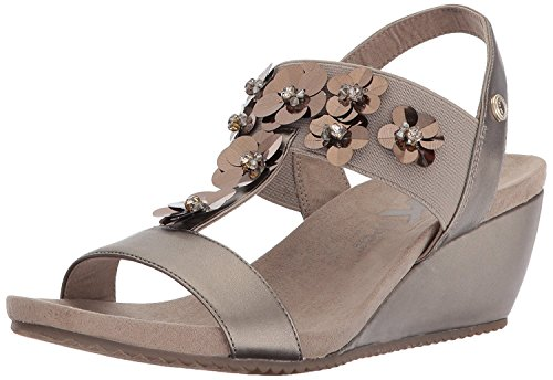Anne Klein Women's Cassie Wedge Sandal, Metallic Taupe Synthetic, 8.5 M US