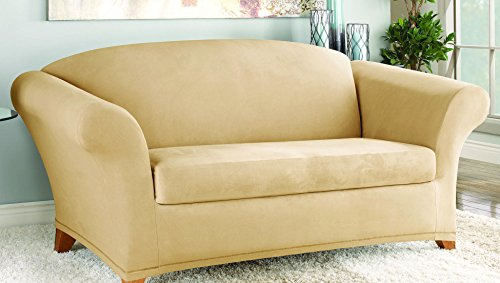 SureFit Stretch Suede - Loveseat Slipcover  - Camel (SF36448)