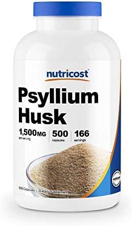 Nutricost Psyllium Husk 500mg, 500 Capsules - 1500mg Per Serving, Non-GMO & Gluten Free 1
