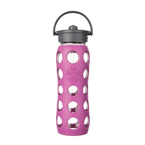 Lifefactory 22-Ounce BPA-Free Glass Water Bottle with Straw Cap and Silicone Sleeve, Huckleberry