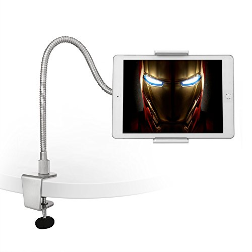 AboveTEK Heavy Duty Aluminum Gooseneck iPad Holder, Cell Phone Desk Mount Tablet Holder iPad Stand for Office Kitchen Bed, Fits 3.5'-10' iPad Android Tablet & Mobile iPhone X 8 7, Strong Flexible Arm