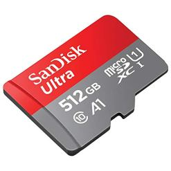 SanDisk Ultra 512 GB microSDXC Memory Card + SD Adapter with A1 App Performance Up to 100 MB/s, Class 10, U1