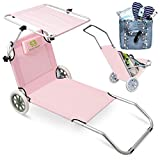 Simpli Better Premium Beach Chairs with Wheels, Making It Extremely Portable. Able to Be Folded and Built-in Pillow and Sunshade, Perfect for Beaches, Picnics, and Camping. ... (Flamingo)