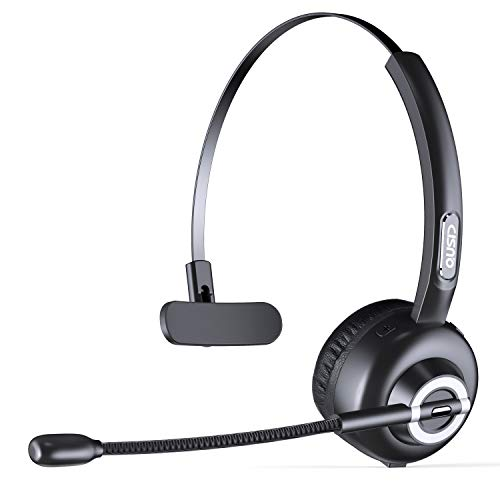 CISNO Bluetooth Headset with Mic, Wireless Over The Head Earpiece, Noise Cancelling Headphones for Truckers Driver, Compatible with iPhone Android Samsung Galaxy Cellphone MP3, Support Play Music